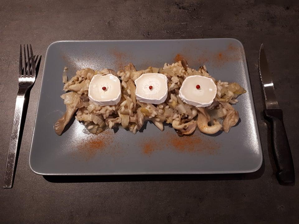 Risotto met witlof, oesterzwammen en geitenkaas